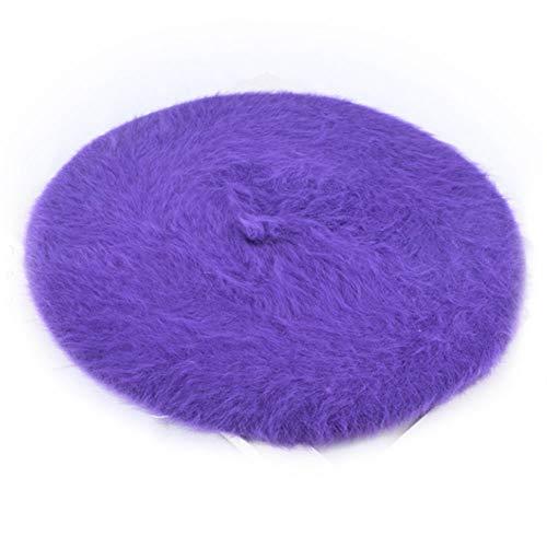 (Manka Vesa Womens Fashion Beret Rabbit Fur Classic French Style Artist Cap Beanie Hat Purple)