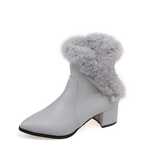 Allhqfashion Women's Zipper Pointed Closed Toe Kitten-Heels PU Low-top Boots Gray zU1SqFQlG