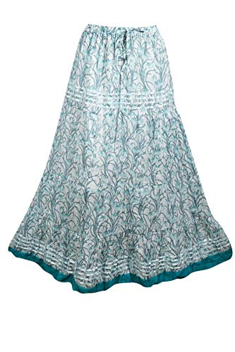 (Mogul Interior Womens Maxi Skirt Blue Floral Printed Flaunting Summer Gypsy Flare Long Skirts S/M)