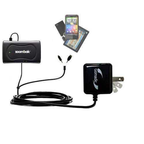 Gomadic Double Wall AC Home Charger suitable for the Zoombak Advanced GPS Universal Locator - Charge up to 2 devices at the same time with TipExchange Technology ()