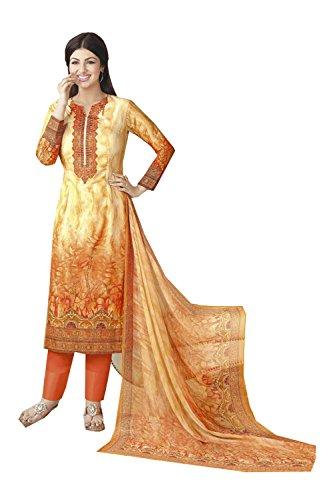 Da Facioun Femmes Indiennes Concepteur Partywear Ethnique Traditionelles Anarkali Salwar Kameez Orange Et Jaune 12