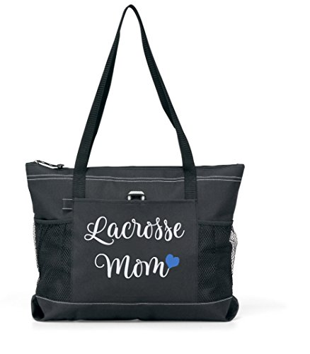Lacrosse Mom Tote. Silver glitter on a Large Black Tote with a Blue Heart by Totesntogs