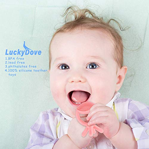 LuckyDove Silicone Baby Teething Toys,BPA Free Silicone Teethers(Freezer & Dishwasher Safe),with Easy to Hold Handles,Baby Teether Chew Toys,Relieve Teething discomfort,Pink