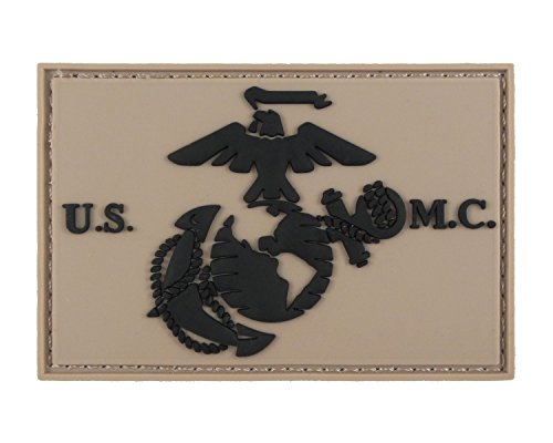 - USMC EGA United States Marine Corps 3D PVC Tactical Hook and Loop Morale Tags Patch (Coyote and Black)