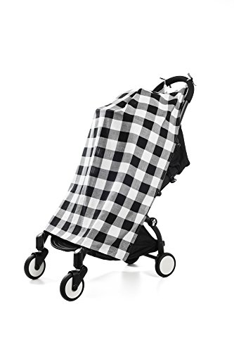 Henry and BROS.Travel, Stroller, Canopy, Baby Blankets For Boys/Baby Blankets For Girls, Newborn Baby Blanket, Made Of 100% Cotton (Black and White Buffalo Check)