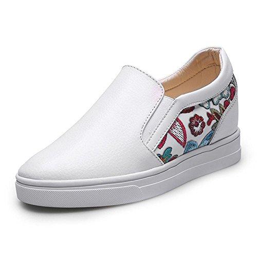 79cf7ce9176f Idées Cadres Femmes Mocassins En Cuir De Mode Chaussures Compensées Blanc