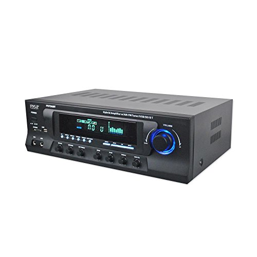 - Wireless Bluetooth Audio Power Amplifier - 300W 4 Channel Home Theater Sound Compact Stereo Receiver w/ USB, AM FM, 2 Mic IN w/ Echo, RCA, LED, Speaker Selector - For Studio, Home Use - Pyle PT272AUBT