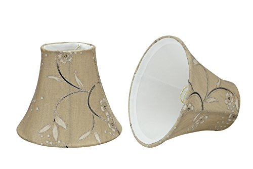 Aspen Creative 30069-2 Transitional Design in Light Gold Small Bell Shape Chandelier Clip-On Lamp Shade Set (2 Pack), (Floral Candelabra Shade Sets)