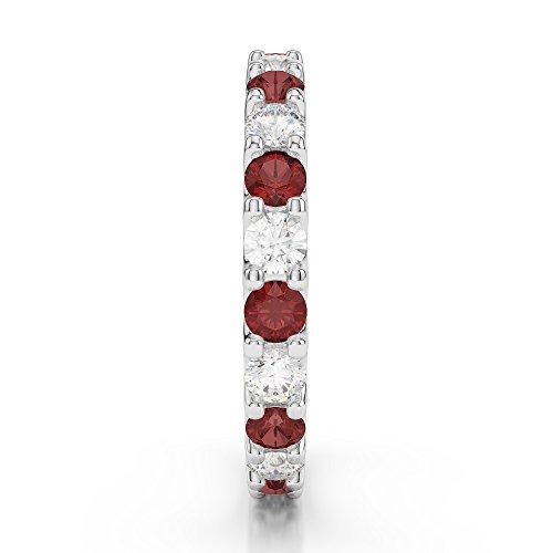 G-H/VS 0,67CT Coupe ronde sertie de diamants Grenat et Full Eternity Bague en platine 950Agdr-1105
