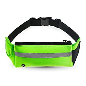 Refoss Running Waist Pack, Water Resistant Fanny Pack, Expandable Sport Belt with Water Bottle Holder, Great for Biking, Hiking, Travel and Outdoor Activities (Green)