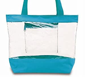 Medium Clear Tote Bag with Zipper Closure (Turquoise)