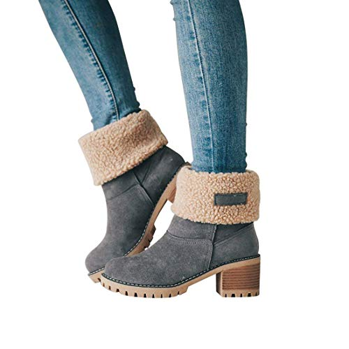 Maybest Heel Boots Snow Ankle Suede Chunky Booties Boots Gray Mid Womens Toe Round rY4xqArw