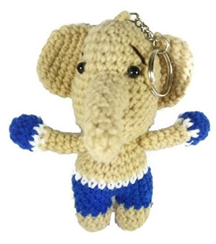 [Chic Cute 2 in 1 Hand Knit Keychain Doll, Blue Elephant Thai Boxing] (Dalmatians Costume Makeup)