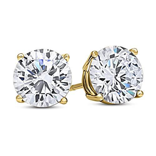DTLA 14k Yellow Gold Solid Cubic Zirconia Stud Earrings (1 carats)