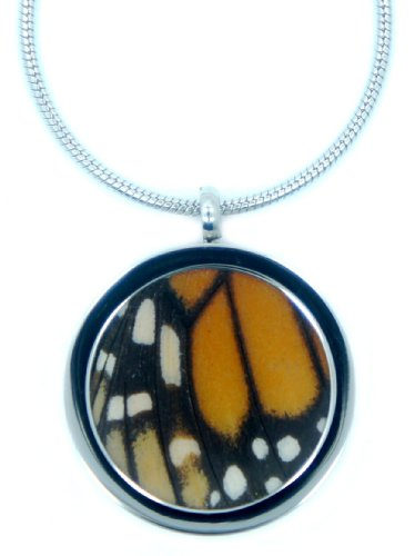 Real Butterfly Wing Necklace Pendant - Monarch, Handmade Jewelry, Anniversary, Birthday -