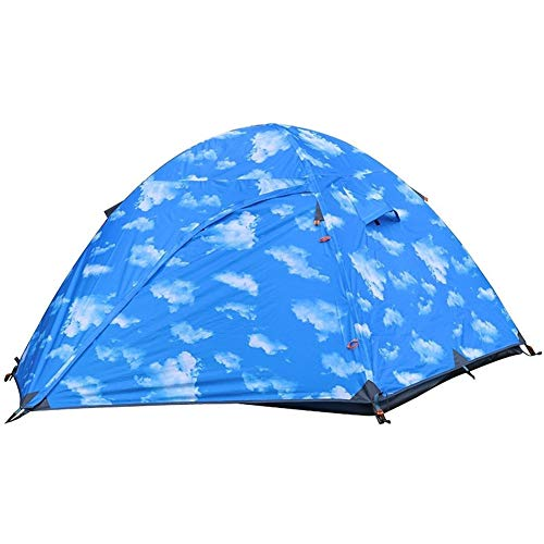(YINISI Tent Double Foldable Portable Breathable Rainproof Polyester Cloth Blue Outdoor Hiking Camping)