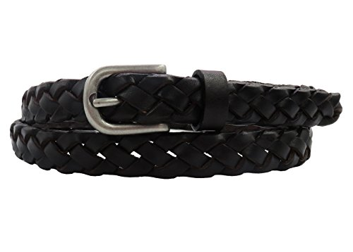 Black Leather Braid (Women's Leather Belt Skinny Waist Belts Full Grain Vintage Finish Hand Braided for Jeans and Dress with Antique Silver Buckle - Black S/M)