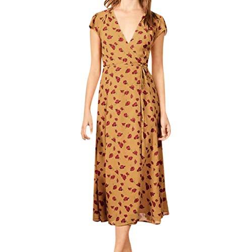 Pumsun  Women Summer Sexy Floral Print V Neck Short Sleeve Bandage Split Dress (Yellow, XL)