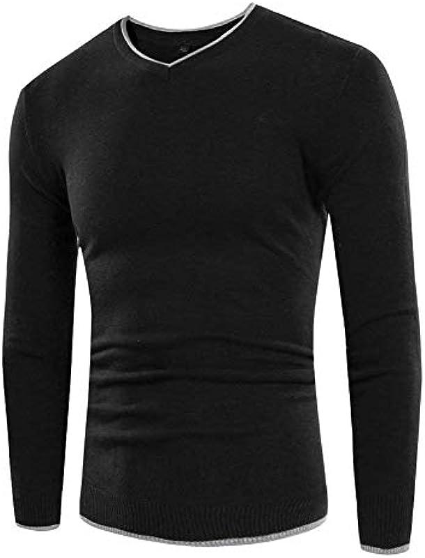 Męski sweter Basic V wycięcie koszulka z długim rękawem jesienna bluza ubranie wiosna lakier standardowy długi rękaw gÓrne części topy: Odzież