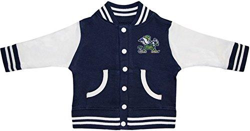 Creative Knitwear University of Notre Dame Fighting Irish Leprechaun Varsity Jacket Navy