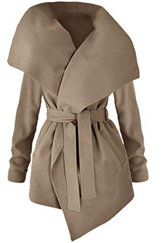 Cardigan Beige Ceinture Trenchcoat Élégante Veste Revers Femme La Les Avec Est zqHvnB