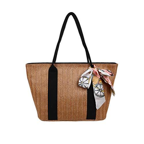 Women's Woven Tote Bag Straw Woven Silk Bow Scarf Large Capacity Zipper Anti-Theft Shopper Bag Ladies Daily Commuter Handbag (Brown)