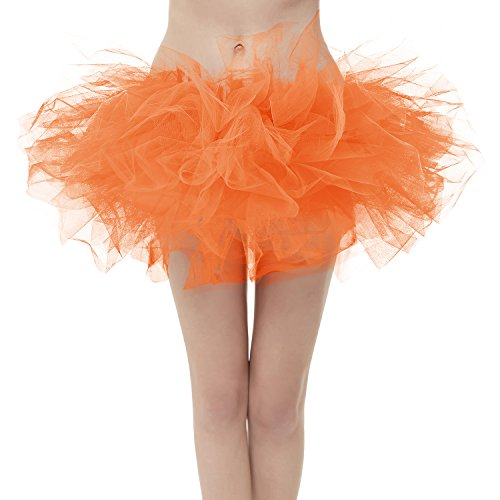 (Girstunm Women's Classic Layers Fluffy Costume Tulle Bubble Skirt Orange-Plus)