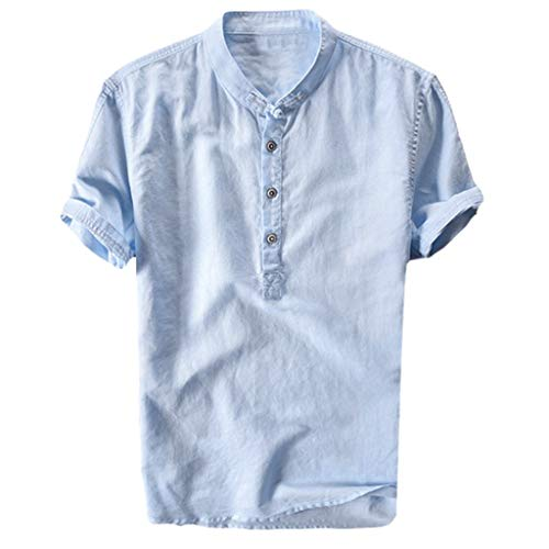MIS1950s Mens Linen Short Sleeve Shirts Cotton Button up Loose Casual Summer Beach T Shirt Tops,Cool and -