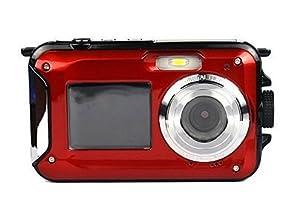 Underwater Camera Full HD 1080P Waterproof Digital Camera 24 MP Video Recorder Selfie Dual Screen DV Point and Shoot Waterproof Camera(Red)