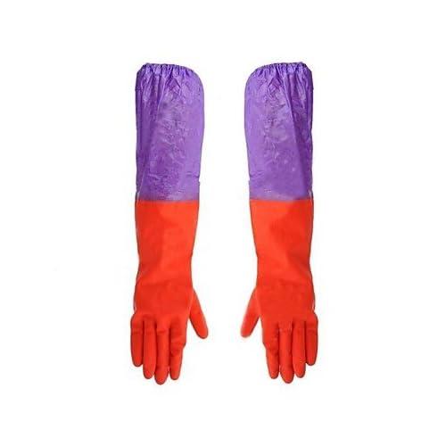 Lllzz étanche à l'eau de nettoyage en caoutchouc Coton deux Section manches Paire de gants