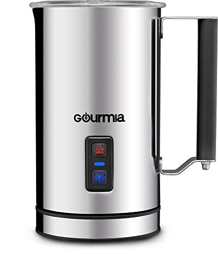 Gourmia GMF215 Cordless Electric Milk Frother & Heater - 3 Function - Detachable Base For Easy Serving - Non-Stick Interior For Easy Cleaning - 500W - Stainless Steel -