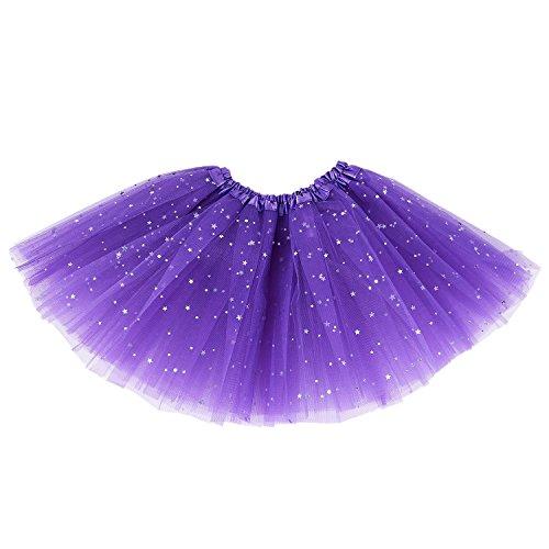 Jaimenalin Smart Baby Meisje Kleding Sterren Pailletten Petticoat Ballet Dance Fluffy Tutu Rok Licht Paars