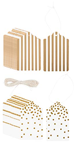 Gift Tags - 120-Pack Gold Foil Paper Tag, Craft Hang Labels, Name Price Size Labels for Wedding, Birthday, Christmas Holiday, Party Favor, Gold Stripes and Polka Dots Design, 520 gsm, 1.8 x 3.2 Inches