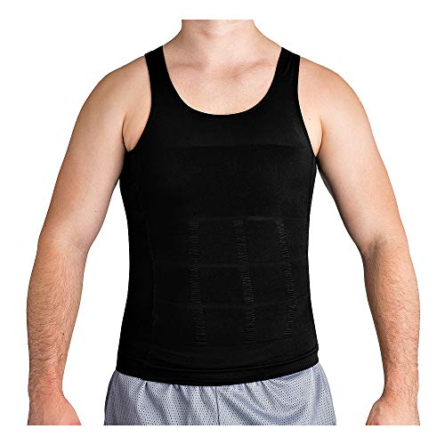 Roc Bodywear Men's Slimming Body Shaper Compression Shirt Slim Fit Undershirt Shapewear Mens Shirts Undershirts USA Company! (XL, Black)
