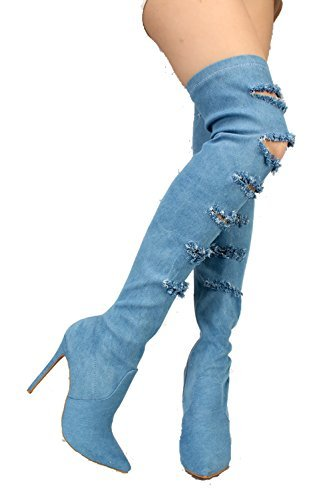 Shoe Republic Serina Womens Blue Distressed Ripped Denim Pointy Toe Thigh High Boots Blue 8.5