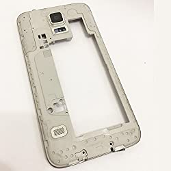 Middle Back Housing Frame + Camera Lens+louder Speaker Buzzer+side Volume Onoff Sleep Button Flex Cable Panel Cover+headphone Jack Plug Replacement Parts For Samsung Galaxy S5 G900f G900 (Silver)
