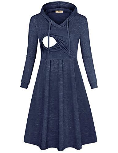 CzzzyL Women's Long Sleeve Pleated Swing Midi Nursing Dress with Hooded