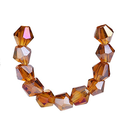 - 100Pcs Glass Crystal Faceted Rondelle Spacer Loose Bicone Beads Jewelry Findings 4mm Lot Color U Pick. (Topaz AB)