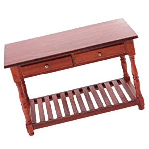 FindShop(TM) 1:12 Rose Wood Office Table Wooden Table Dollhouse Miniature Furniture Toy B