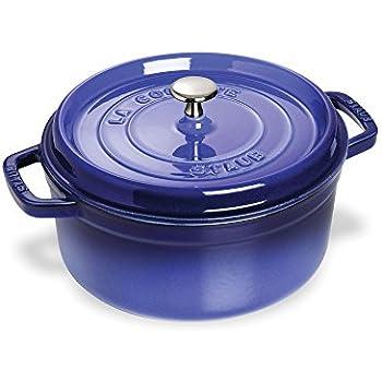 Amazon.com: Staub 4 Quart Round Cocotte, Blue: Dutch Ovens
