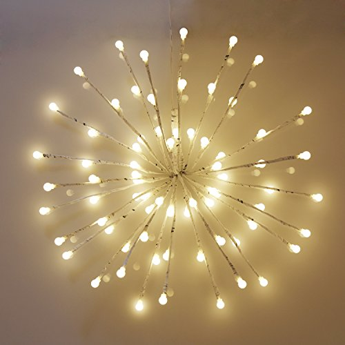 EAMBRITE Wrapped Lighted Twig Starburst with 72LT Warm White LED bulbs for outdoor and indoor use - Spheres Lighted