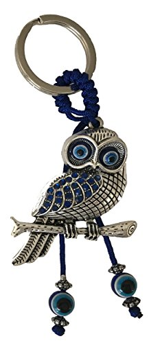 Blue Evil Eye Owl Charm Keychain Ring for Protection and Blessing for Wisdom, Great ()