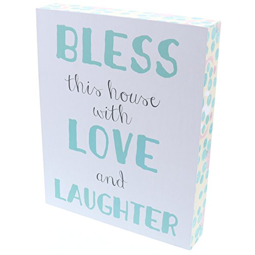 (Barnyard Designs Bless This House with Love and Laughter Wooden Box Wall Art Sign, Primitive Country Farmhouse Home Decor Sign with Sayings 10