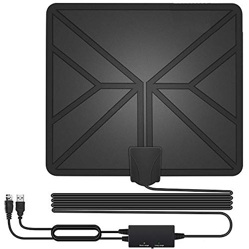 HDTV Antenna,130+ Miles Long Range Indoor Digital TV Antennas with 2019 Newest Switch Amplifier Signal Booster for Local Free Channels 4k HD 1080P 2016P All Older TV's - 16.5ft Coax Cable (Best Indoor Digital Antenna 2019)