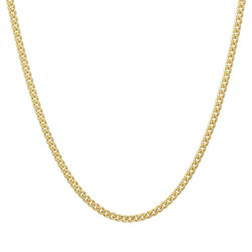 (1.8mm Gold Plated Solid .925 Sterling Silver Curb Link Chain Necklace, 16