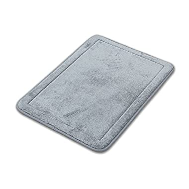 Comfortable Non-Slip Luxurious Soft Memory Foam Bath Rug Mat, 17  x 24 , Set of 2 (Gray)