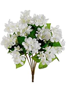 Amazon classic silk white stephanotis 5 stems wrapped in raffia afloral silk stephanotis bush in white cream 15 tall mightylinksfo