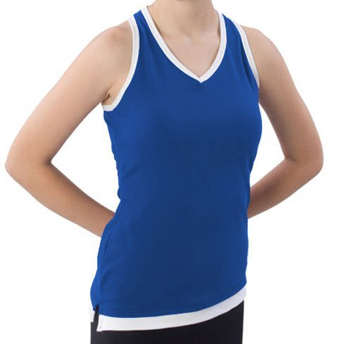 Cheerleaders Layered Look Top - Pizzazz Performance Wear 8700 -ROYWHT-YXS 8700 Youth Layered Look Top - Royal with White - Youth X-Small