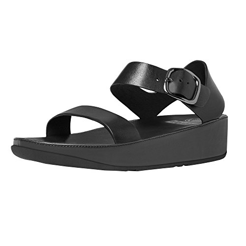 FitFlop Women's Bon Leather Back-Strap Sandals All Black 10