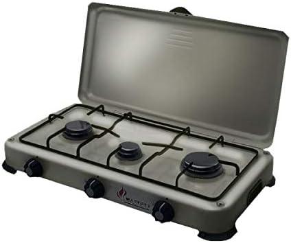 Hornillo de gas portátil 4100 W Silver 3 fuegos, butano-propano, gris aluminio - quemadores de acero inoxidable - tapa